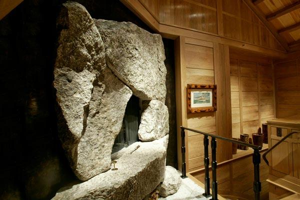 Balancing Freshwater Pearl granite fireplace
