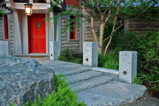 Rock face Freshwater Pearl granite steps, with Freshwater Pearl granite posts, and a weathered Freshwater Pearl boulder