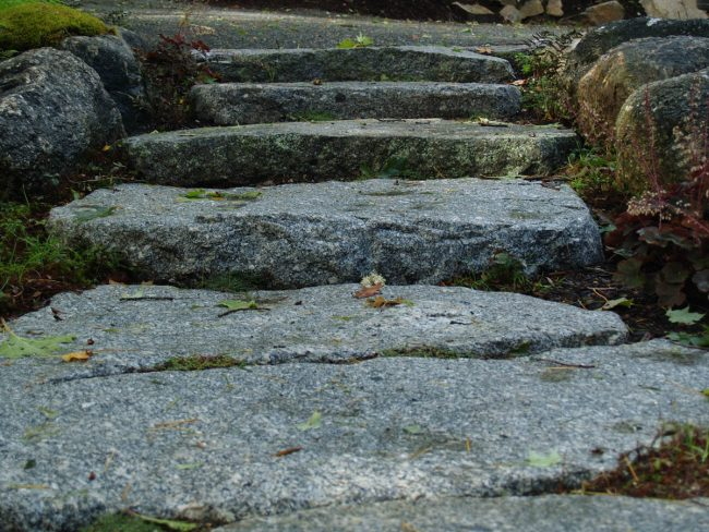 Weathered Freshwater Pearl granite steps