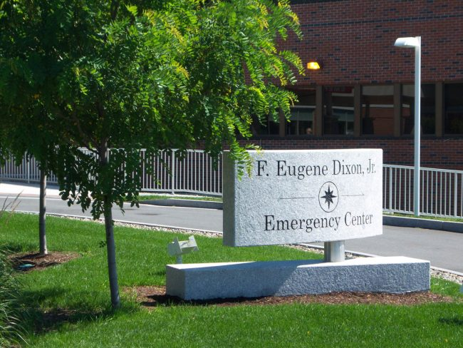 F. Eugene Dixon Jr. Emergency Center Freshwater Pearl granite sign