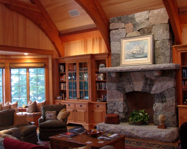 Multi-color, natural granite fireplace with rock face mantel and hearth