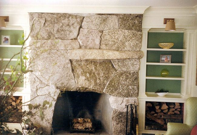 Weathered granite fireplace