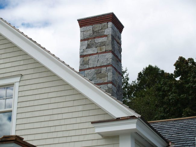 Granite and brick chimney