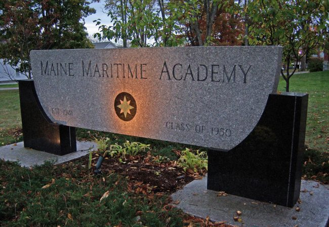 Maine Maritime Academy granite sign