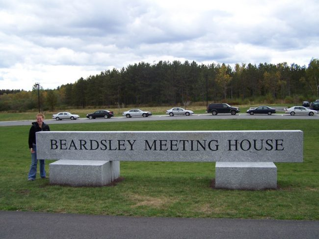Beardsley Meeting House Freshwater Pearl granite sign