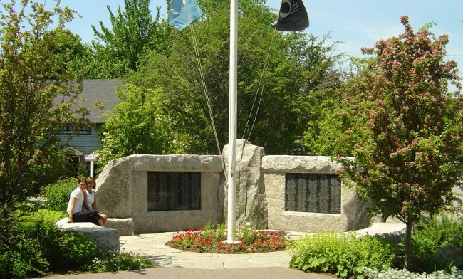 Weathered Freshwater Pearl granite Veteran's Monument