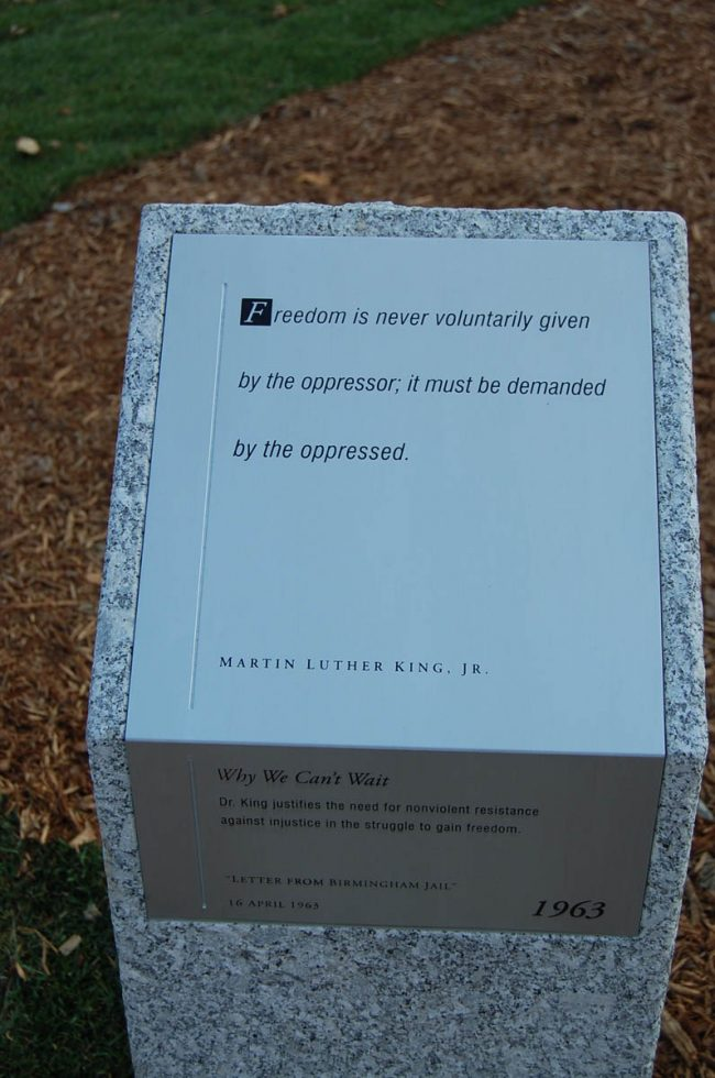 Freshwater Pearl granite post at Martin Luther King Memorial Park