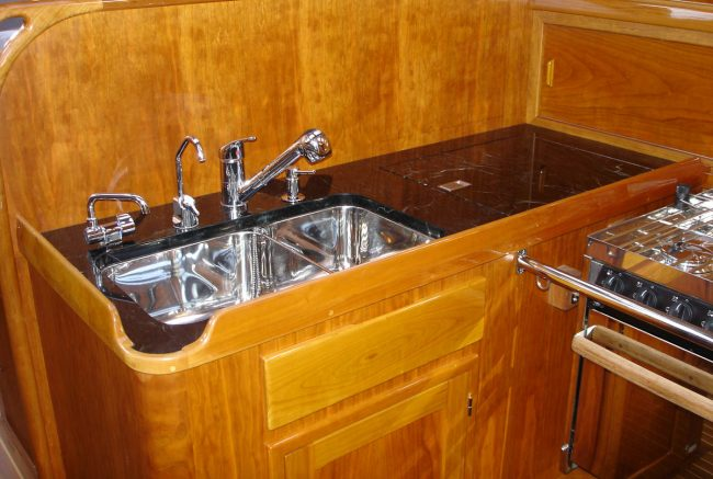 Ship kitchenette with Verde Mare marble counter top