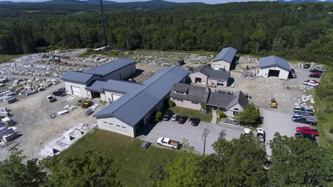 An aerial view of our 22,000 sq. ft. masonry facilities on 20 acres in Orland, Maine