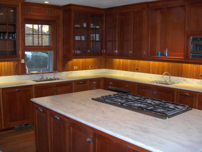 Honed Imperial Danby marble countertops and backsplash
