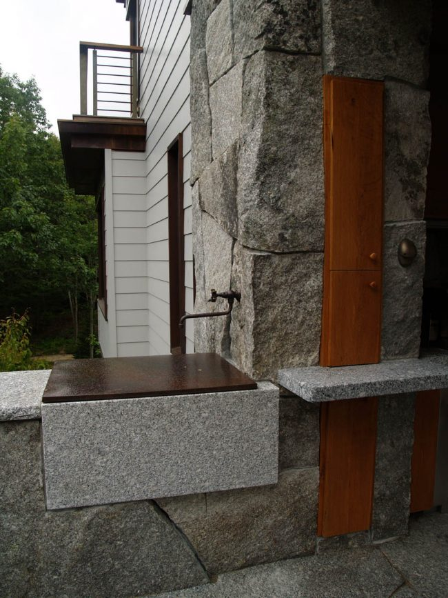 Weathered Freshwater Pearl granite stone on houses