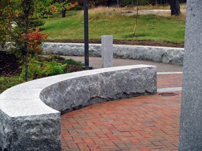 Freshwater Pearl granite seat wall