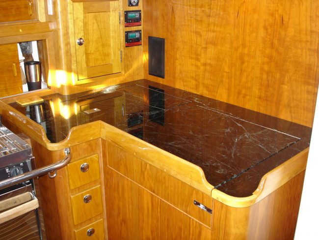 Ship kitchenette counter top, polished Verde Mare marble