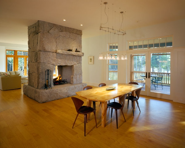 Double-sided fireplace using fresh and weathered granite