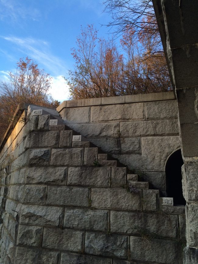 Freshwater Pearl granite steps were installed for restoration work at Fort Gorges