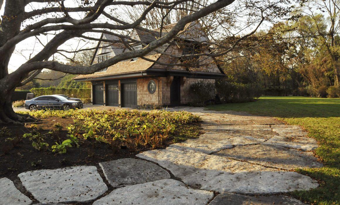 Weathered Freshwater Pearl granite rough back, irregular paver stonework
