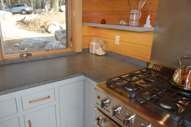 Honed Morning Mist granite countertops and backsplash