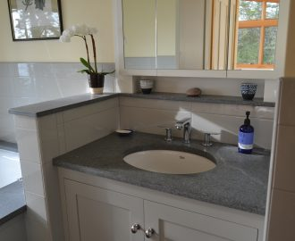 Honed Morning Mist granite vanity top