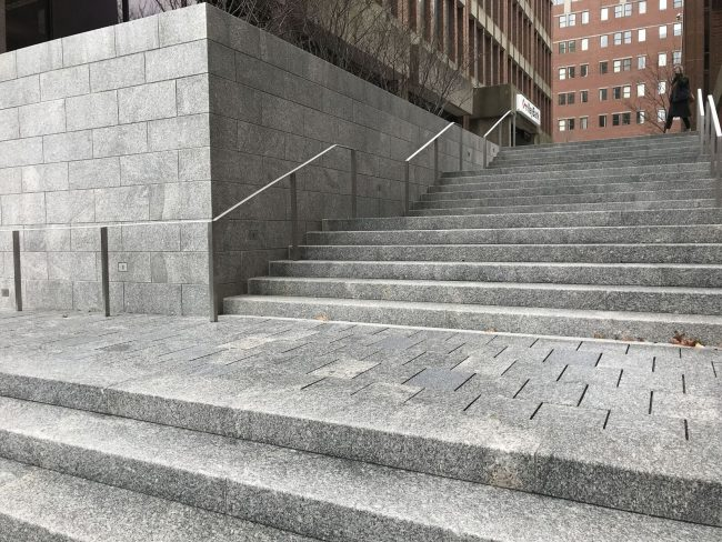 Canal Plaza, Portland, ME. Freshwater Pearl granite pavers, steps, and wall veneer.