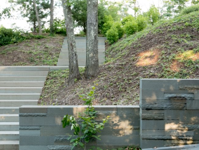 Blue Stone steps and walls with flamed and rock face finishes.