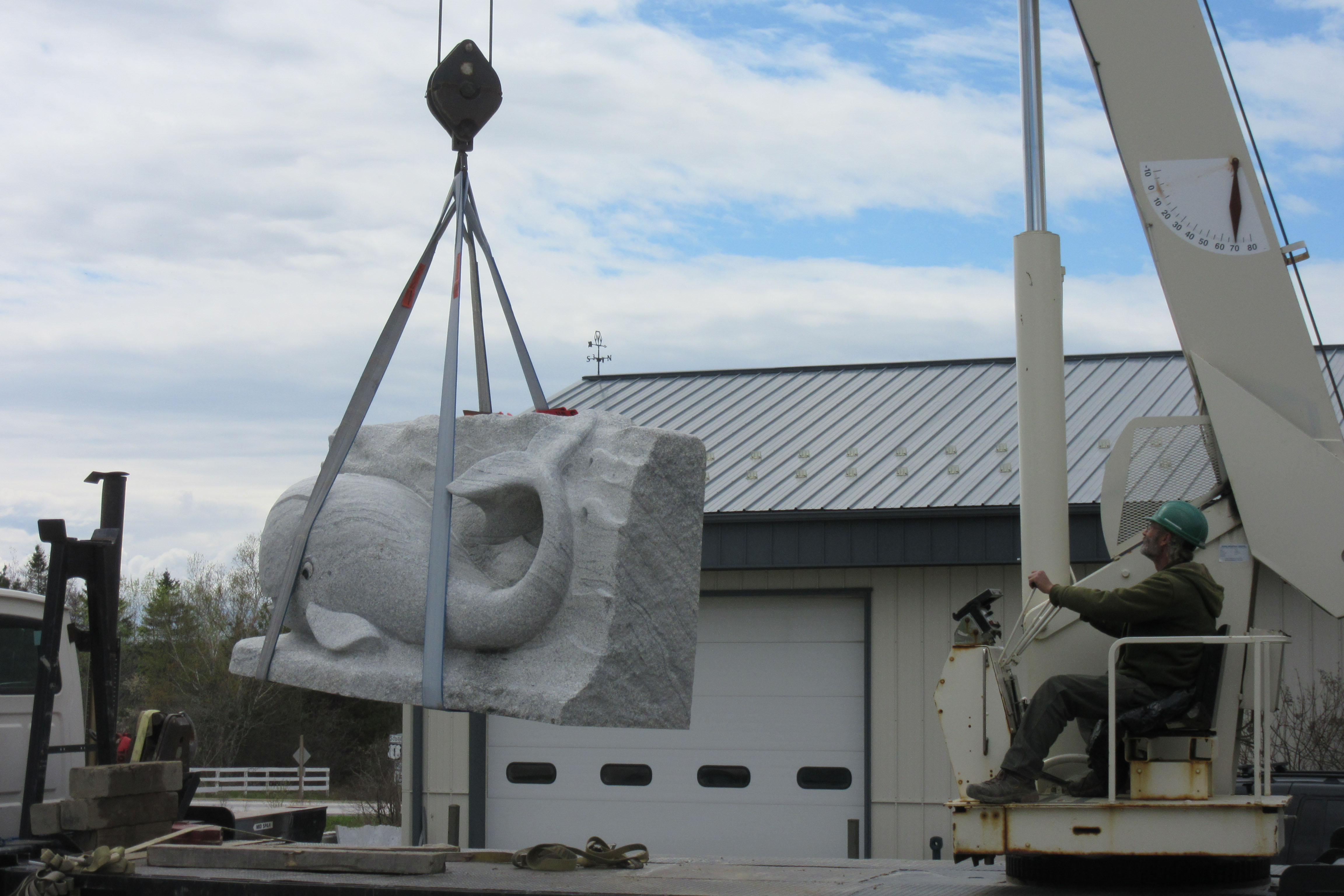 The JCA Preschool whale climbing wall being loaded for transport